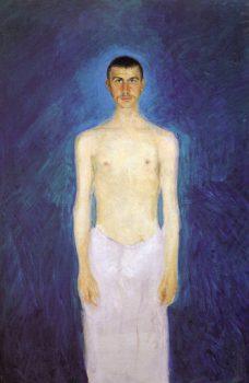 RICHARD GERSTL. RETROSPEKTIVE (24. FEBRUAR – 14. MAI 2017), Richard Gerstl, Selbstbildnis als Halbakt, 1902/03, Öl auf Leinwand, 159 x 109 cm, Foto: © Leopold Museum, Wien